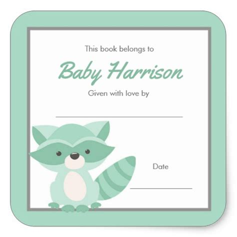 baby shower bookplate template
