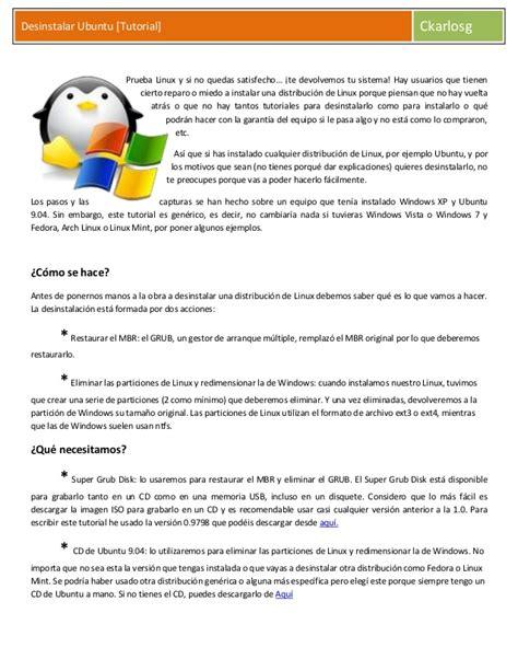 desinstalar ubuntu tutorial taringa desinstalar ubuntu