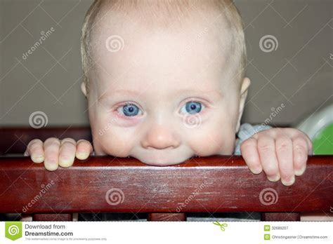 Baby Chewing On Crib Royalty Free Stock Photography My Baby Is Chewing On His Crib