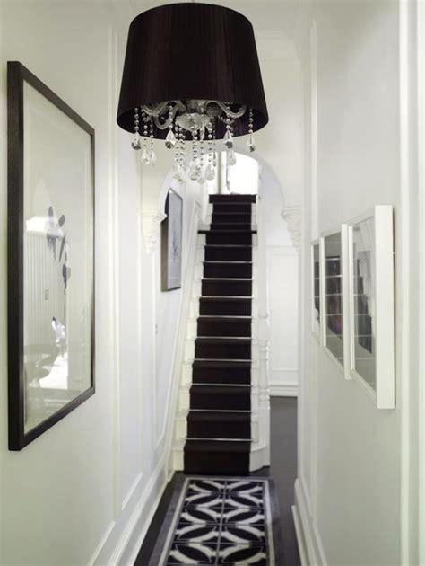 black and white hallway transitional entrance foyer greg natale