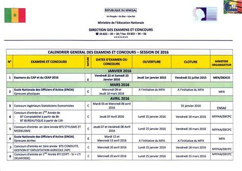 Calendrier 2018 Senegal Examens 2016 Baccalaur 233 At Bfem Et Cfee Les Dates