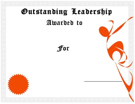 leadership certificate template outstanding leadership award certificate template