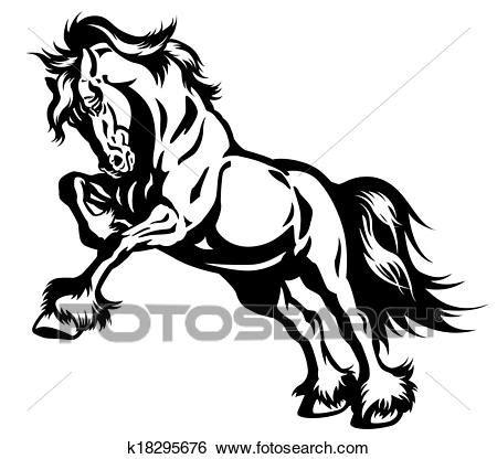 clipart cavalli clip cavallo nero bianco k18295676 cerca clipart