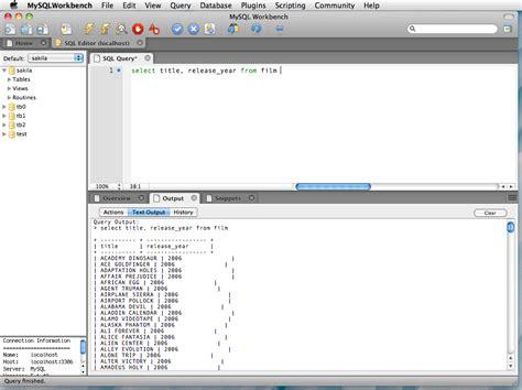 python mysql client tutorial mysql workbench plugin execute query to text output the