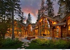 log home exterior the windows and the