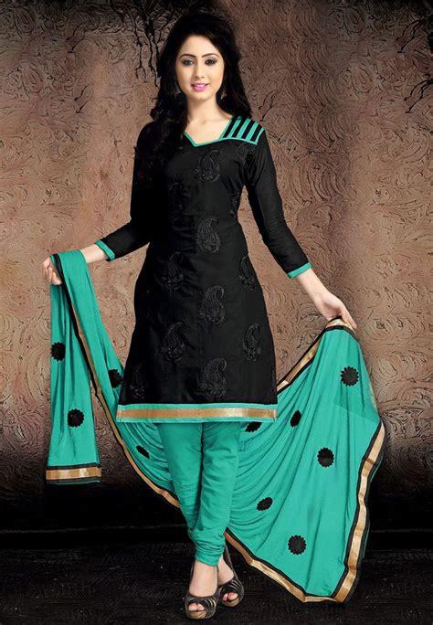 buy black chanderi cotton churidar kameez  work