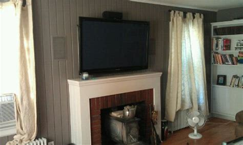 wood wall tv fireplace remote concealed wires