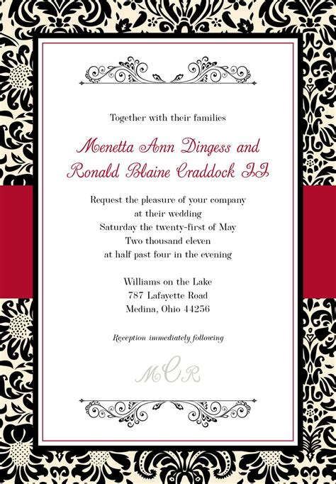 Black And White Wedding Invitations Templates black and wedding invitations template best template