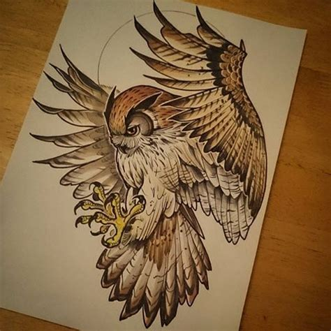 flying owl tattoo designs fantastic brown new school flying owl design