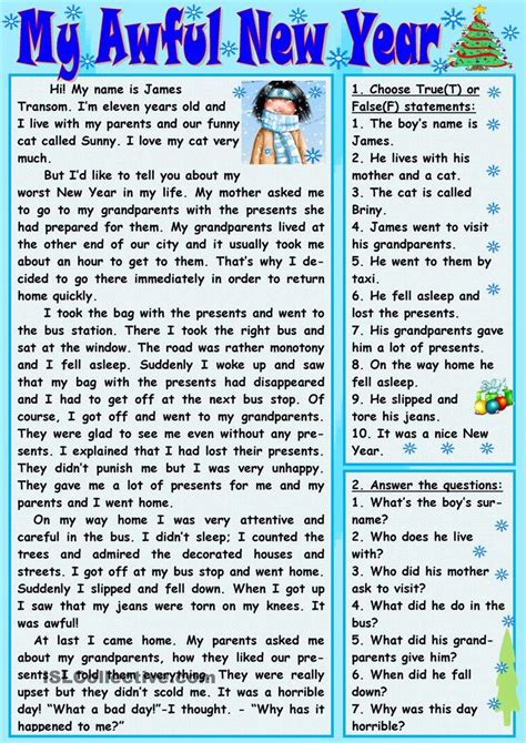 reading comprehension on new year 17 best images about school on kindergarten