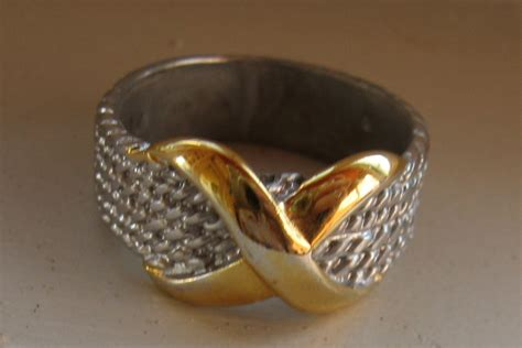 premier designs silver and gold band ring size 8 metal