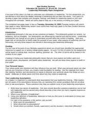 Leadership Philosophy Essay by Leadership Philosophy Paper Assignment New Student Services Education 98 And 29 Caleads Leadership