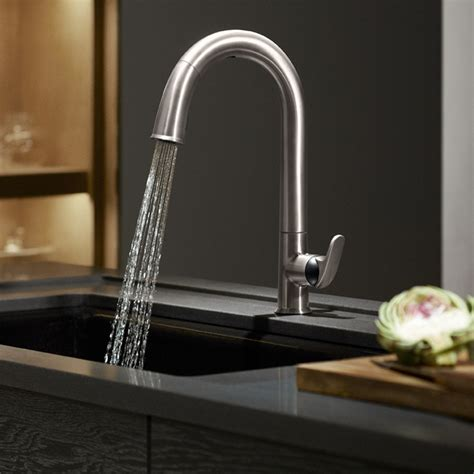 kholer kitchen faucets kohler k 72218 vs sensate touchless kitchen faucet vibrant stainless touchless kitchen sink