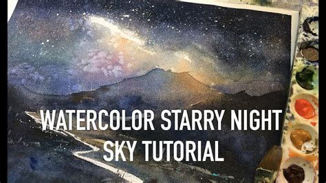 watercolor tutorial starry night watercolor starry night sky tutorial for beginners youtube