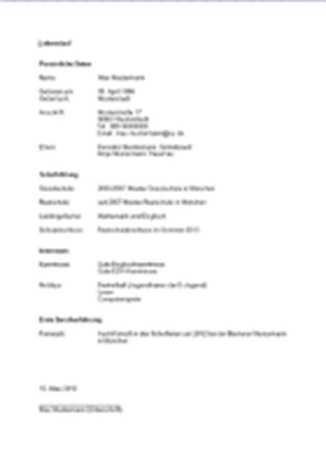 Lebenslauf Schuler Vorlage Word 6 Sch 252 Lerpraktikum Lebenslauf Vorlage Transition Plan