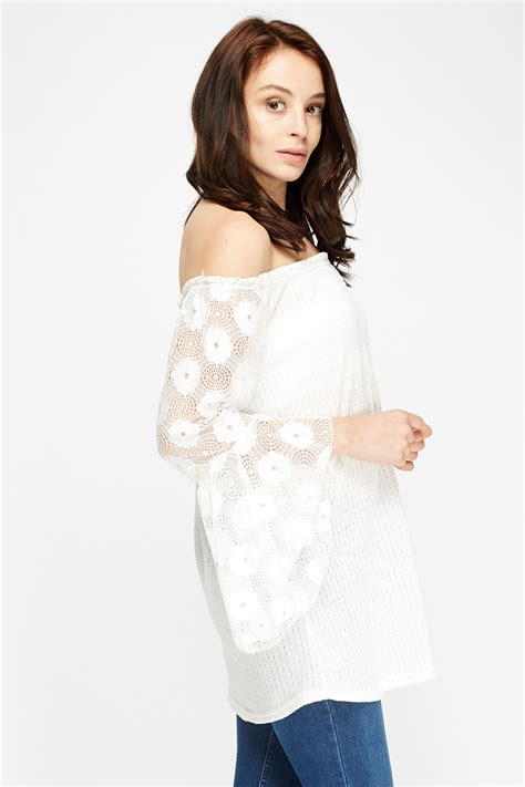 lace sleeve white shoulder top just 163 5