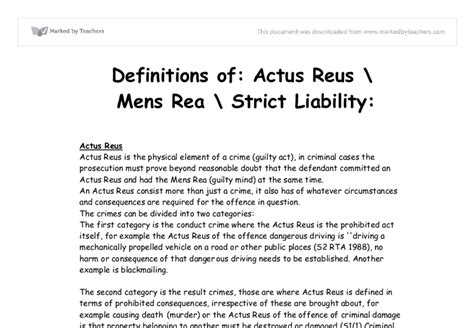 Strict Liability Essay by Definitions Of Actus Reus Mens Rea Strict Liability A Level Marked By Teachers