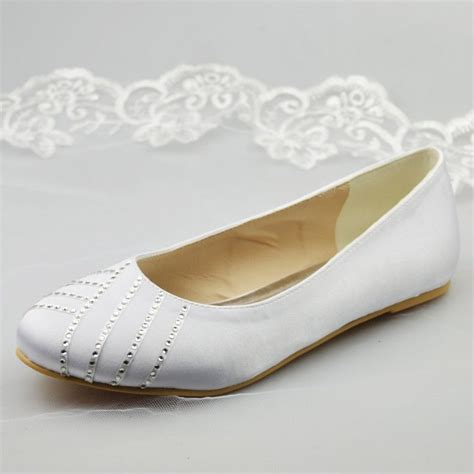 white flats shoes wedding new ivory white satin lace bridal womens low high heels