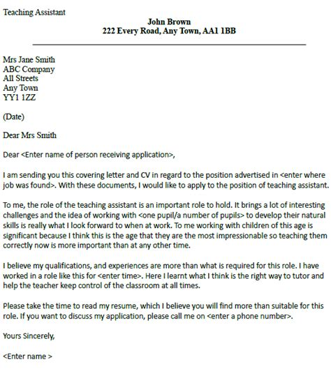 teachers assistant cover letter post reply