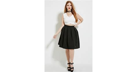 forever 21 plus size pleated skirt in black lyst
