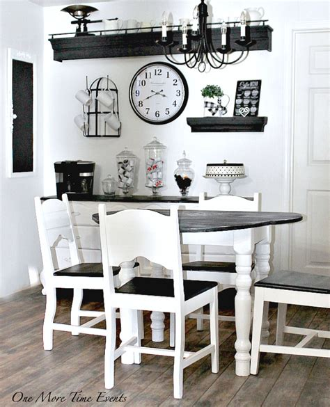 black and white kitchen table how to design a farmhouse kitchen on a budget one more