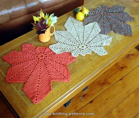 placemat patterns for tables thanksgiving knitting projects crochet leaves table