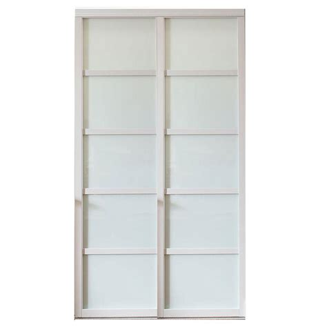 White Wood Sliding Closet Doors Contractors Wardrobe 72 In X 81 In Tranquility Glass Panels Back Painted White Wood Frame