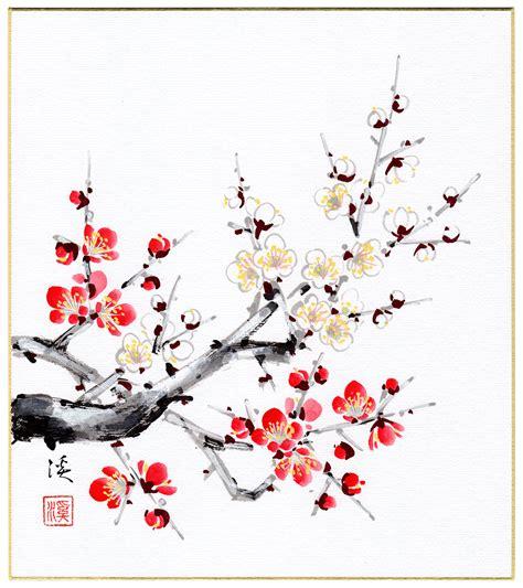 fiori di pruno arte giapponese fiori di pruno cremisi e bianchi okuda kei