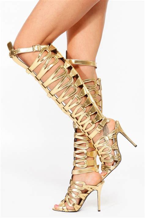 Breckelles Gold Thigh High Gladiator Heels @ Cicihot Heel