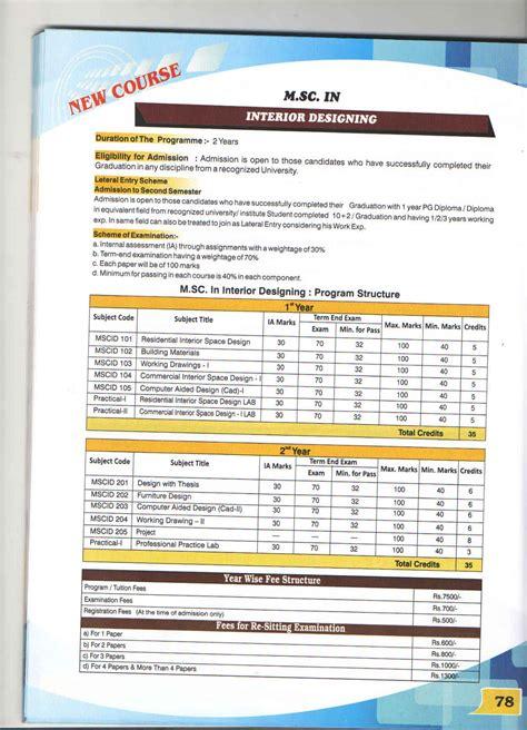 courses related to interior designing m sc interior