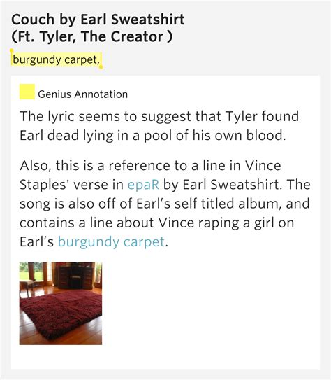 earl sweatshirt couch lyrics burgundy carpet couch by earl sweatshirt