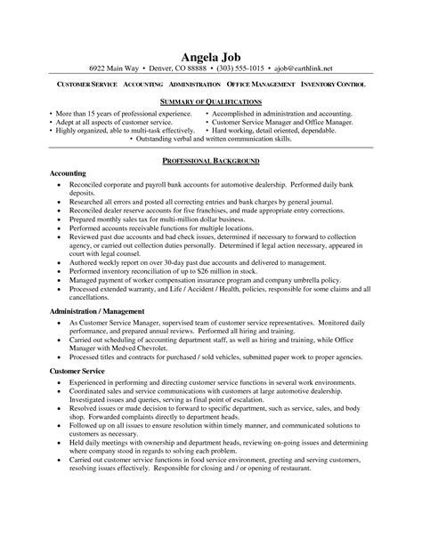 Resume Summary For Customer Service by Functional Summary Resume Exles Customer Service Unique