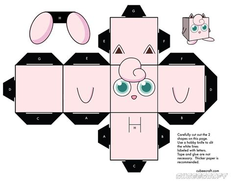 Cube Paper Craft - image detail for jigglypuff cubee activity sheet