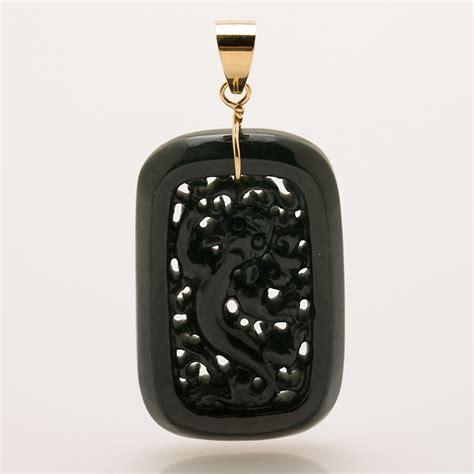Black Jade Carved gump s carved black jade pendant gump s