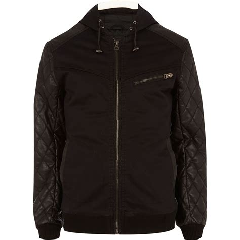 Black Quilted Jacket by River Island Black Quilted Sleeve Hooded Bomber Jacket In