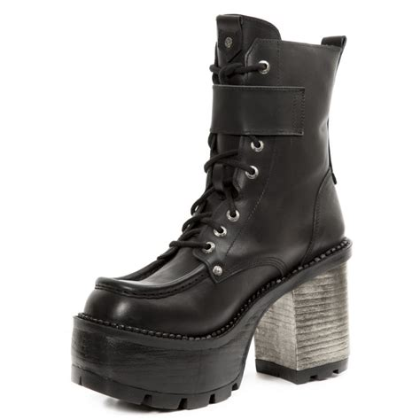 black leather ankle boots with and buckle