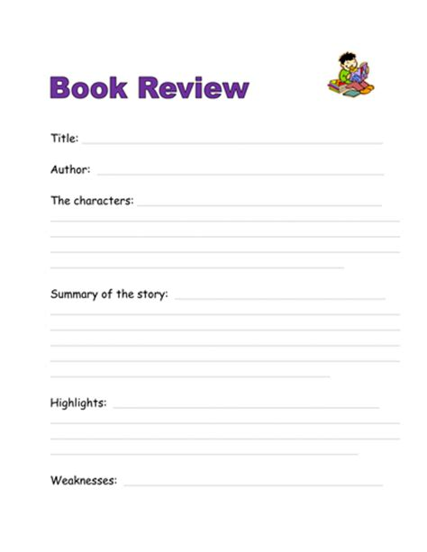 book review template by kyleli teaching resources tes