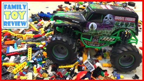 grave digger monster truck toys for kids rc monster truck crushes pile monster jam trucks