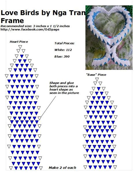 tutorial origami 3d in italiano 03 love birds frame diagram end 3d origami bird