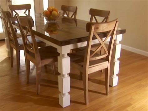 how to build a dining table from an door and posts hgtv