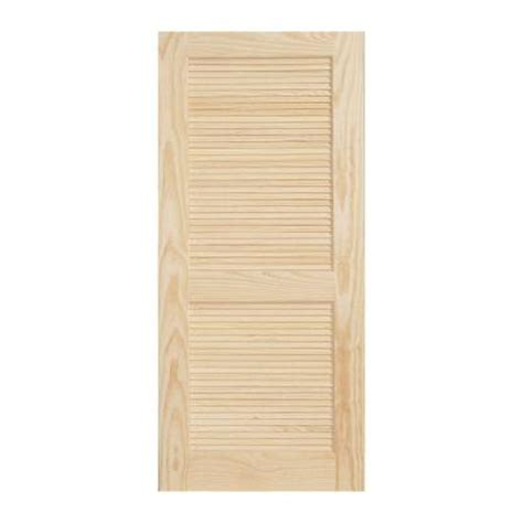 null 36 in x 80 in woodgrain louvered unfinished pine