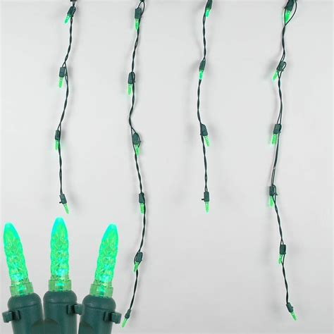 green wire icicle lights