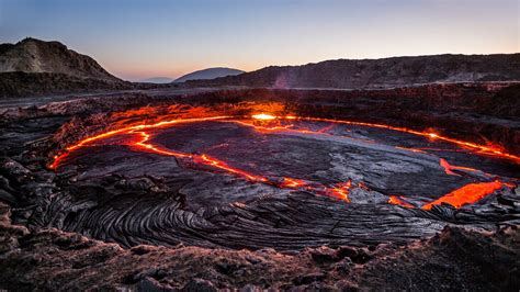 Lava L L by Lava Lake In The Erta Ale Volcano Danakil Depression