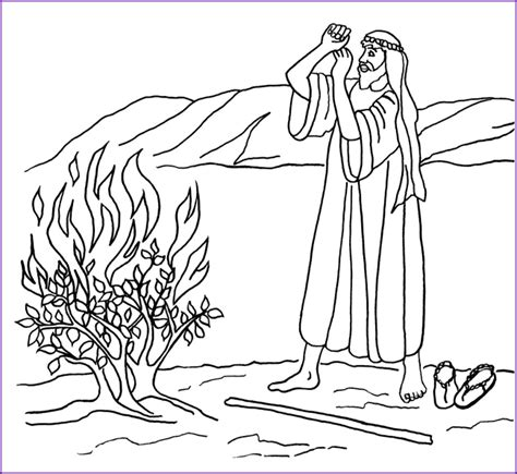 print version moses and burning bush coloring page