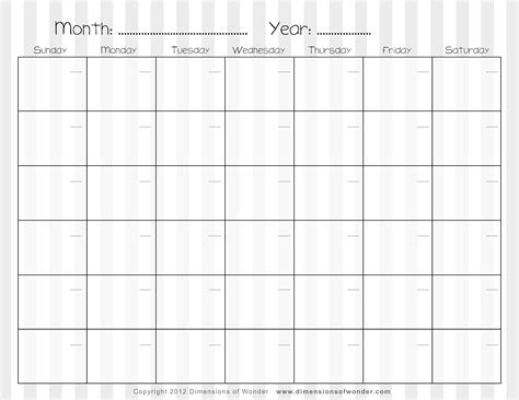 free monthly calendar printable search results