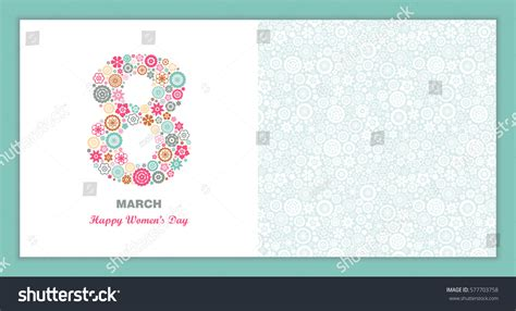 s march post card template 8 march womens day greeting card stock vector 577703758