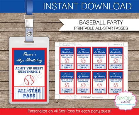 printable vip tickets baseball party all star vip passes template party favors
