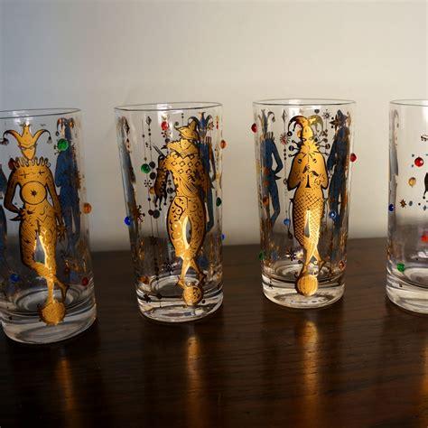 culver barware vintage culver glassware mardi gras pattern 22k gold jester jewelled drinking glasses