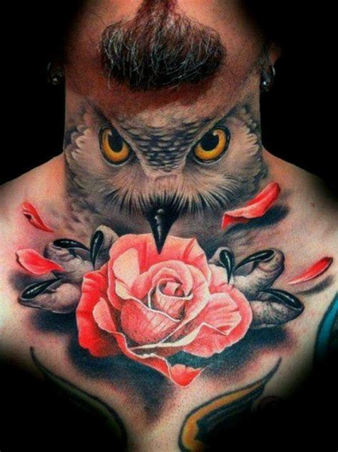 owl neck tattoo neck owl tattoos