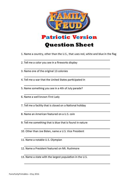 printable games for family printable patriotic family feud game question sheet
